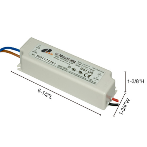 JESCO Lighting DL-PS-60/12-HWA 60W 12V DC Hardwire Power Supply., White
