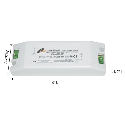 JESCO Lighting DL-PS-100/24-TB 96W 24V DC Hardwire Power Supply with Terminal Block Connection., White