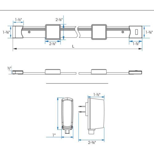 JESCO Lighting KIT-SD131-TR3-A 6W JESCO Orionis 3ft Square LED Track Kit , 30 - 3000K, Silver