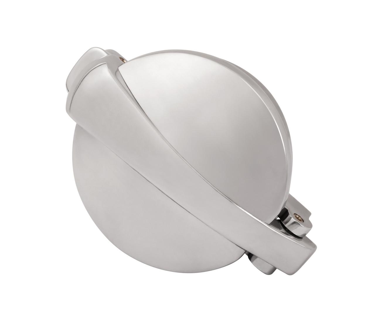 """Monza Aluminum Gas Cap - Flip Up - Polish - 2.5"""" Diameter"""
