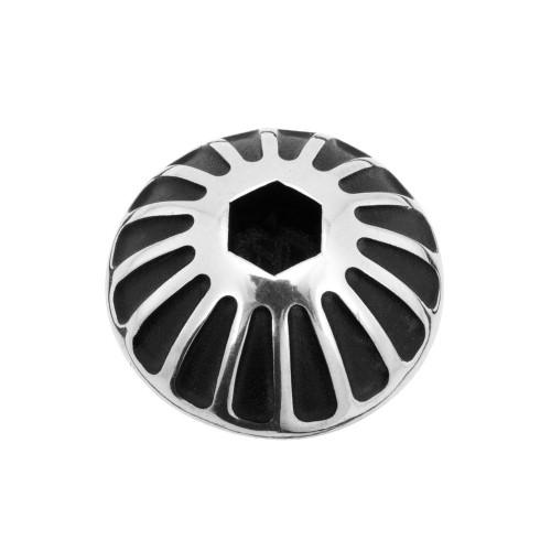 MOTONE Engine Oil Filler Cap - Roswell - Contrast Black/Polish