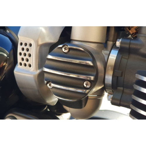 TPS CarbThrottle Body Cover - Pair - Ribbed/Finned - Black and Contrast Polished