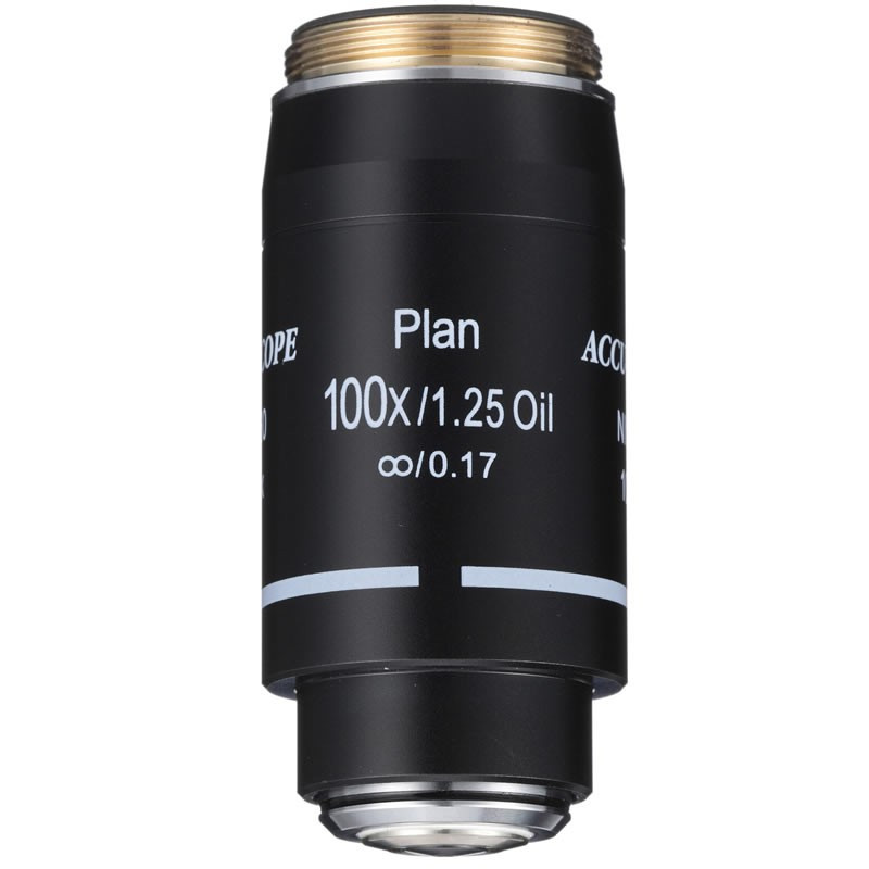 ACCU-SCOPE 100x Oil Plan Brightfield Objective with Iris Diaphragm for EXC-500 Series - Infinity Corrected