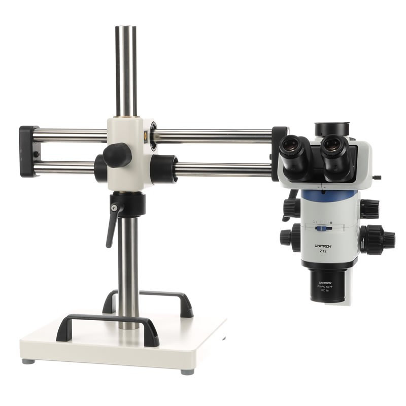 UNITRON 11236-T Z12 Zoom Stereo Microscope on Ball Bearing Boom Stand - Trinocular