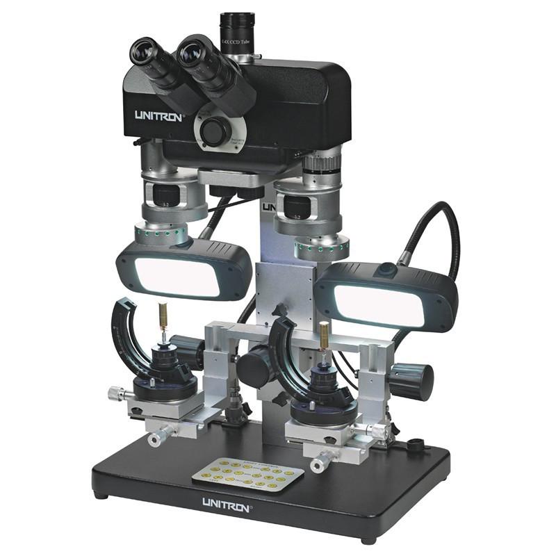 UNITRON 16206 Comparison Forensic Microscope with Fluorescent Lights on Goosenecks