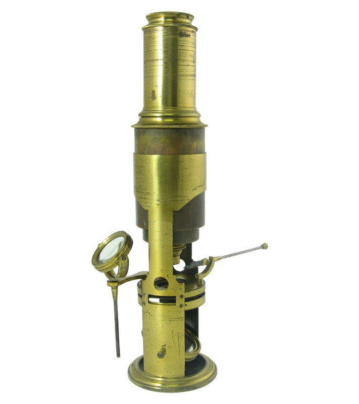 English Drum Microscope with Rack and Pinion Focusing - Antique