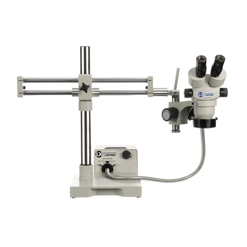 LX Microscopes by UNITRON® System 273 Binocular Stereo Zoom Microscope on Dual Ball-Bearing Boom Stand with 150W Fiber Optic Illuminator