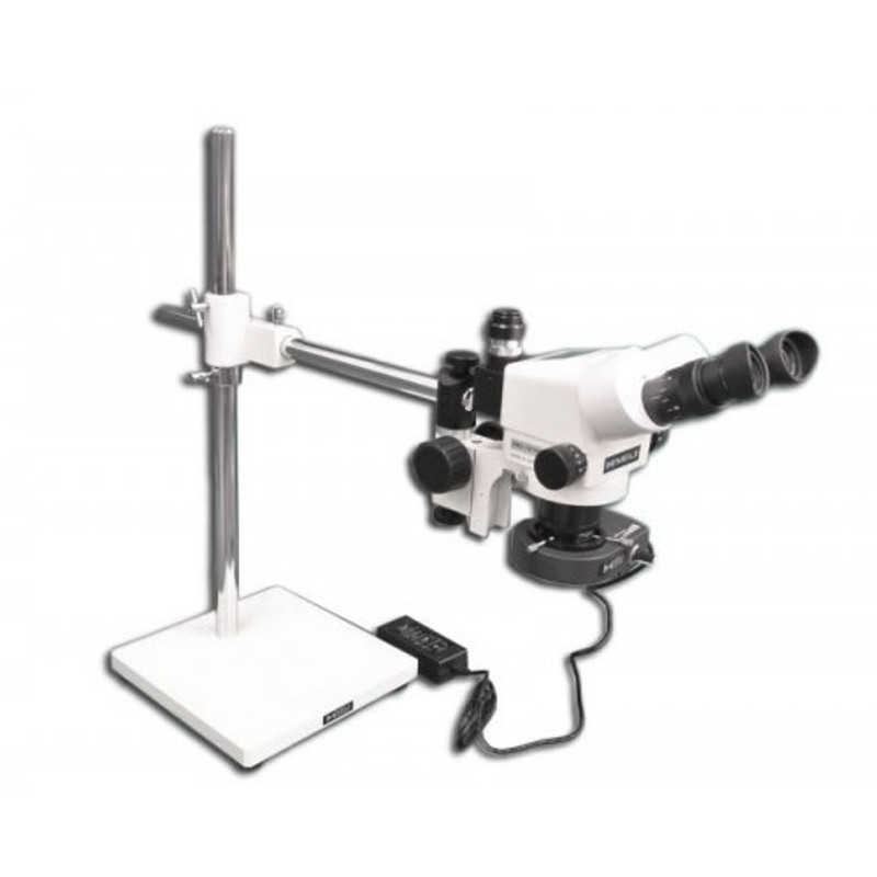 Meiji EMZ-200TRB Trinocular Microsurgical Microscope on S-4200 Boom Stand with LED Ring Illuminator - 3.94x - 25.3x Magnification