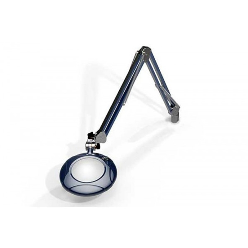 """Meiji MG800/2XBLU Round 2x Magnifier 5"""" with 43"""" Reach, with Table Edge Clamp, Blue Finish"""
