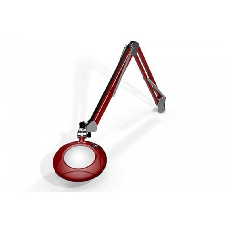 """Meiji MG800/2XRED Round 2x Magnifier 5"""" with 43"""" Reach, with Table Edge Clamp, Red Finish"""