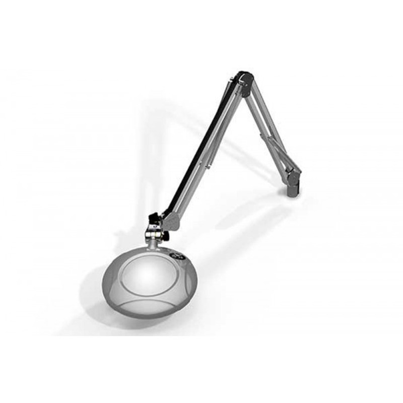 "Meiji MG800/2XSIL Round 2x Magnifier 5"" with 43"" Reach, with Table Edge Clamp, Silver Finish"