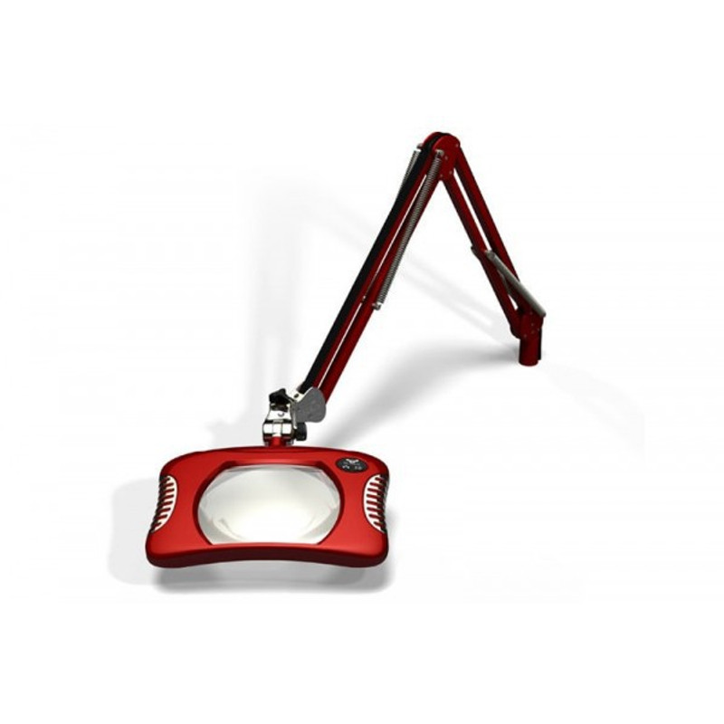 """Meiji MG900/2XRED Rectangular 2x Magnifier 7"""" x 5.25"""" with 43"""" Reach & Table Edge Clamp, Red Finish"""
