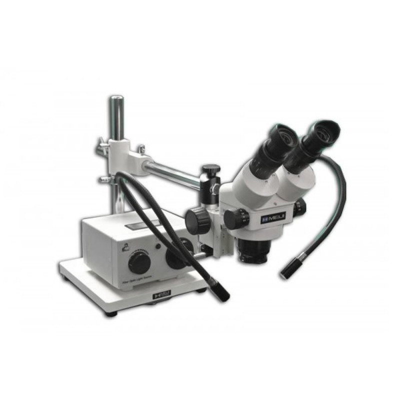 Meiji MDM-5 Binocular Stereo Zoom Microscope with Fiber Optic Dual Arm Light on Boom Stand for Medical Device Manufacturing Inspection, 7x - 90x Magnification
