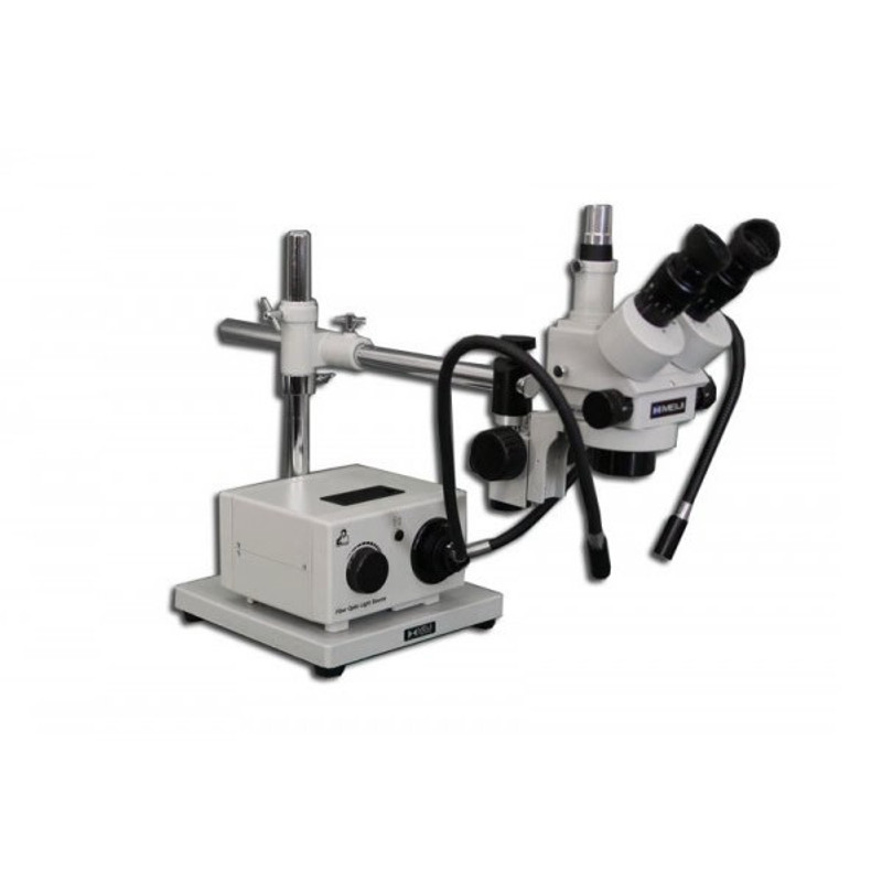 Meiji MDM-5TR Trinocular Stereo Zoom Microscope with Fiber Optic Dual Arm Light on Boom Stand for Medical Device Manufacturing Inspection, 7x - 90x Magnification