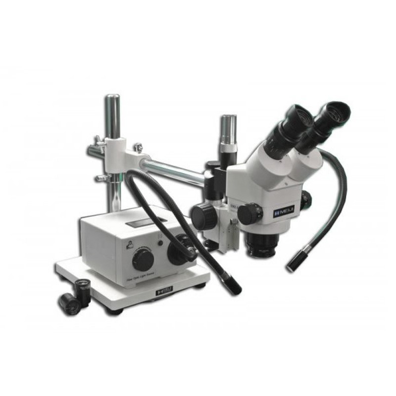 Meiji MDM-8TR Trinocular Stereo Zoom Microscope with Fiber Optic Dual Arm Light on Boom Stand for Medical Device Manufacturing Inspection, 7x - 90x Magnification