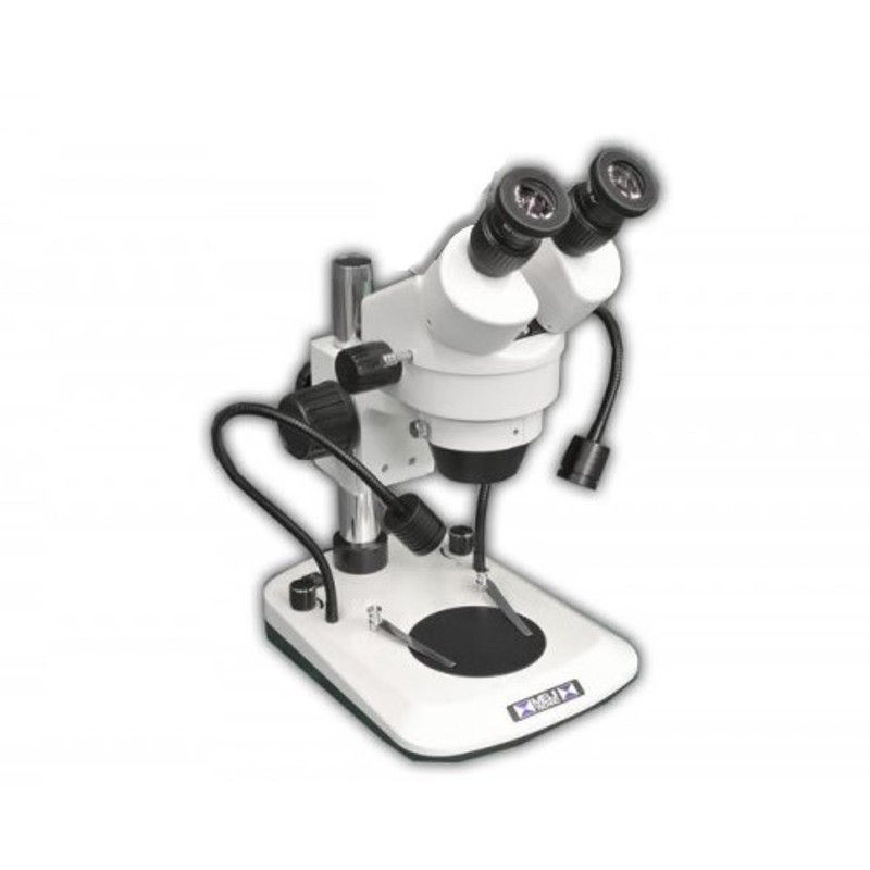 Meiji EM-60 Binocular Stereo Zoom Microscope with Dual Arm LED Incident Light, 7x - 45x Zoom Magnification
