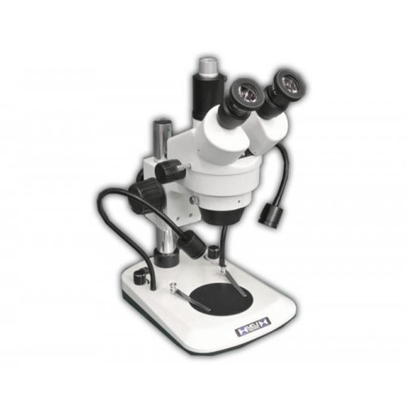 Meiji EM-61 Trinocular Stereo Zoom Microscope with Dual Arm LED Incident Light, 7x - 45x Zoom Magnification