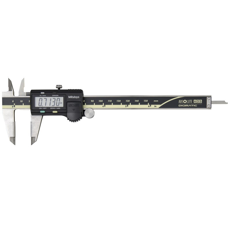 """Mitutoyo 500-159-30 AOS Absolute Digimatic Caliper, Precision Measuring Tool, 6""""/150mm, without Output, Carbide OD Jaws"""