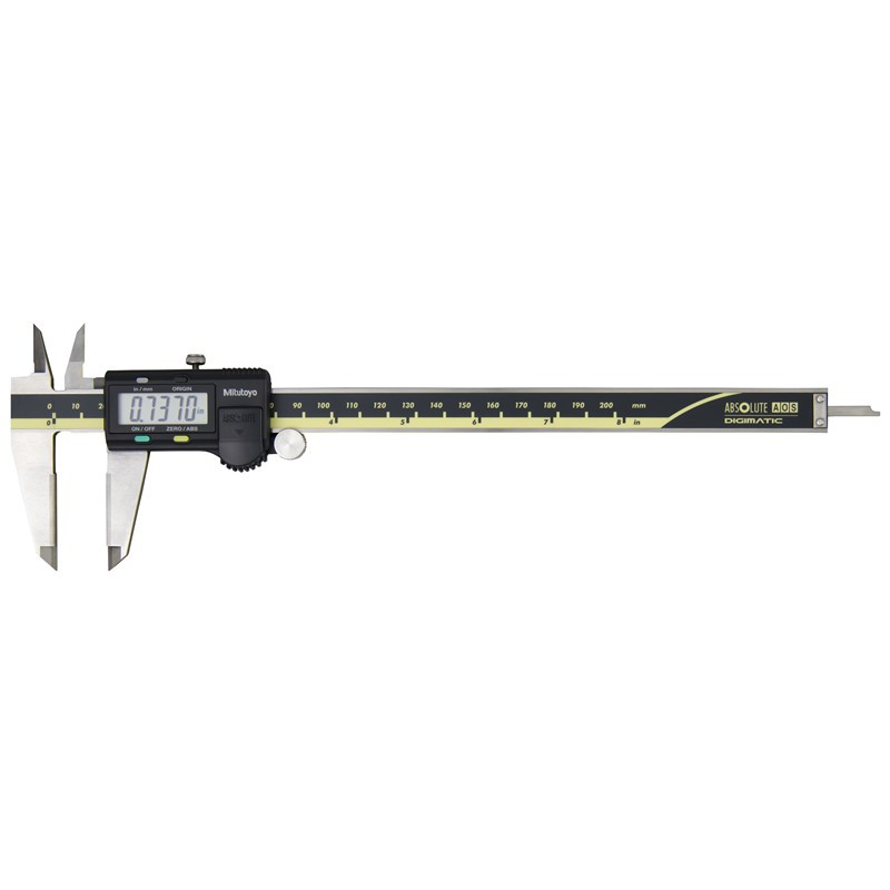 """Mitutoyo 500-164-30 AOS Absolute Digimatic Caliper, Precision Measuring Tool, 8""""/200mm, without Output, Carbide OD/ID Jaws"""