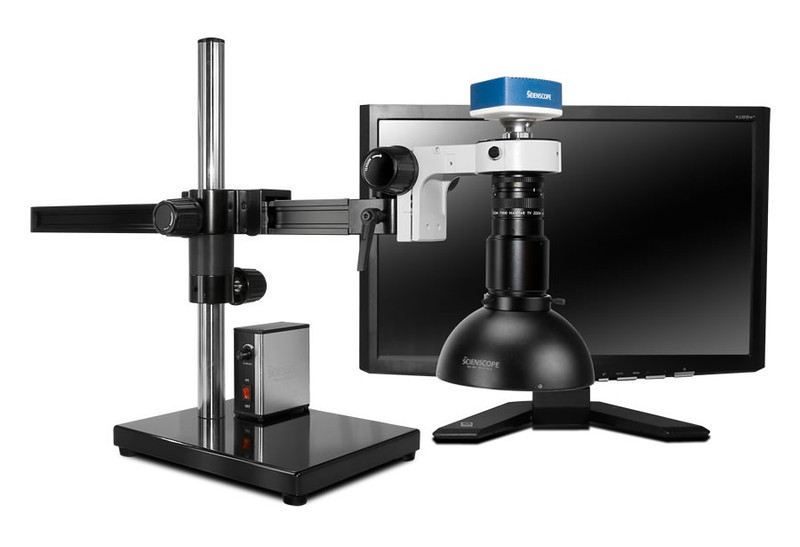 "Scienscope MAC-PK5-DM, MACRO Zoom System on Gliding Arm Boom Stand with 1080p HDMI/USB Camera, Diffused LED Dome Light & 23"" HD LCD Monitor"