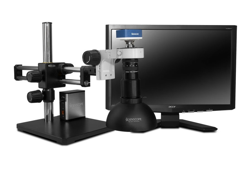 """Scienscope MAC-PK5D-DM, MACRO Zoom System on Dual Arm Boom Stand with 1080p HDMI/USB Camera, Diffused LED Dome Light & 23"""" HD LCD Monitor"""