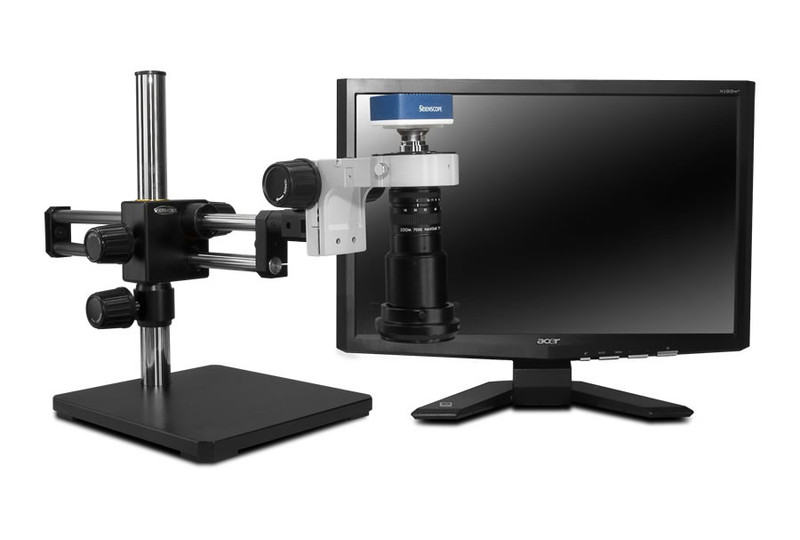 """Scienscope MAC-PK5D-R3, MACRO Zoom System on Dual Arm Boom Stand with 1080p HDMI/USB Camera, LED Ring Light with Polarizer & 23"""" HD LCD Monitor"""