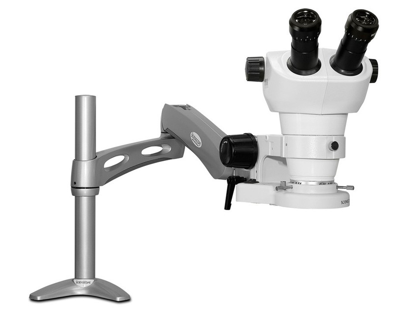 Scienscope NZ-PK3-E1 NZ Stereo Zoom Binocular Microscope on Articulating Arm with LED Ring Light, 8x to 50x Magnification