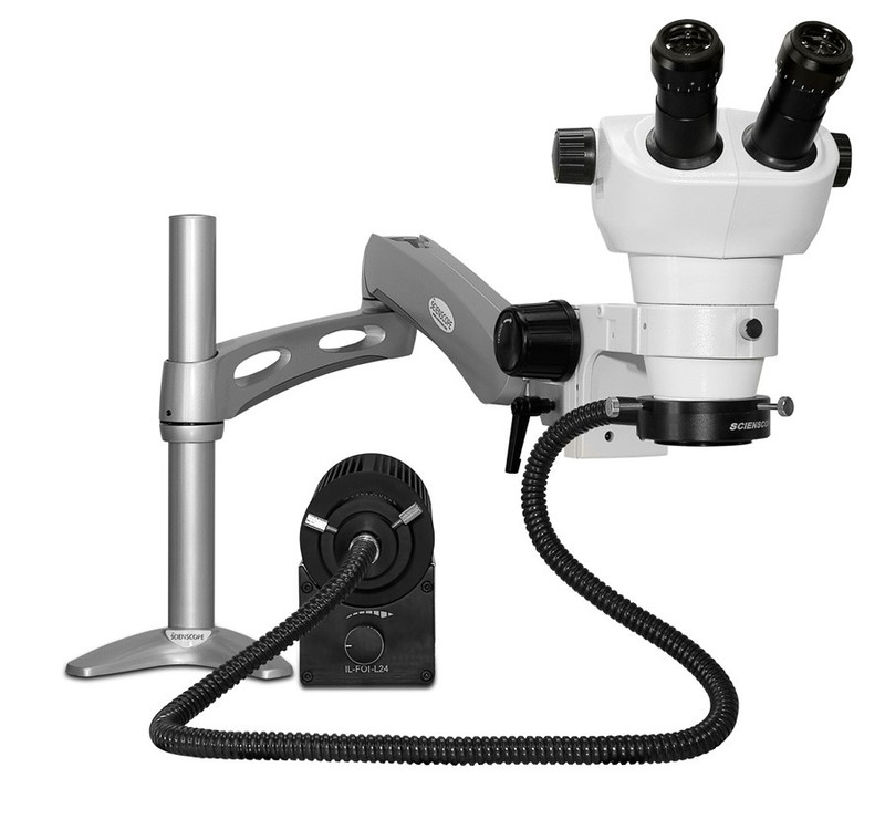 Scienscope NZ-PK3-AN NZ Stereo Zoom Binocular Microscope on Articulating Arm with LED Fiber Optic Annular Ring Light, 8x to 50x Magnification