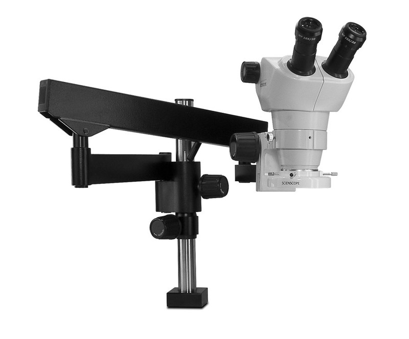 Scienscope NZ-PK3FX-E1, NZ Stereo Zoom Binocular Microscope on Heavy Duty Articulating Arm with LED Ring Light, 8x to 50x Magnification