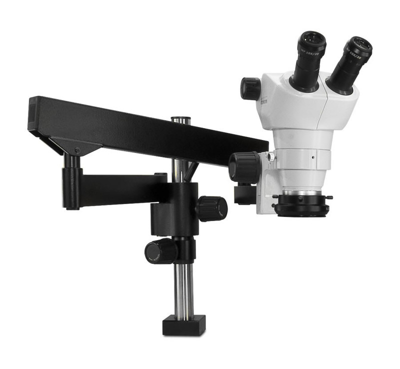 Scienscope NZ-PK3FX-R3, NZ Stereo Zoom Binocular Microscope on Heavy Duty Articulating Arm with LED Ring Light with Polarizer, 8x to 50x Magnification