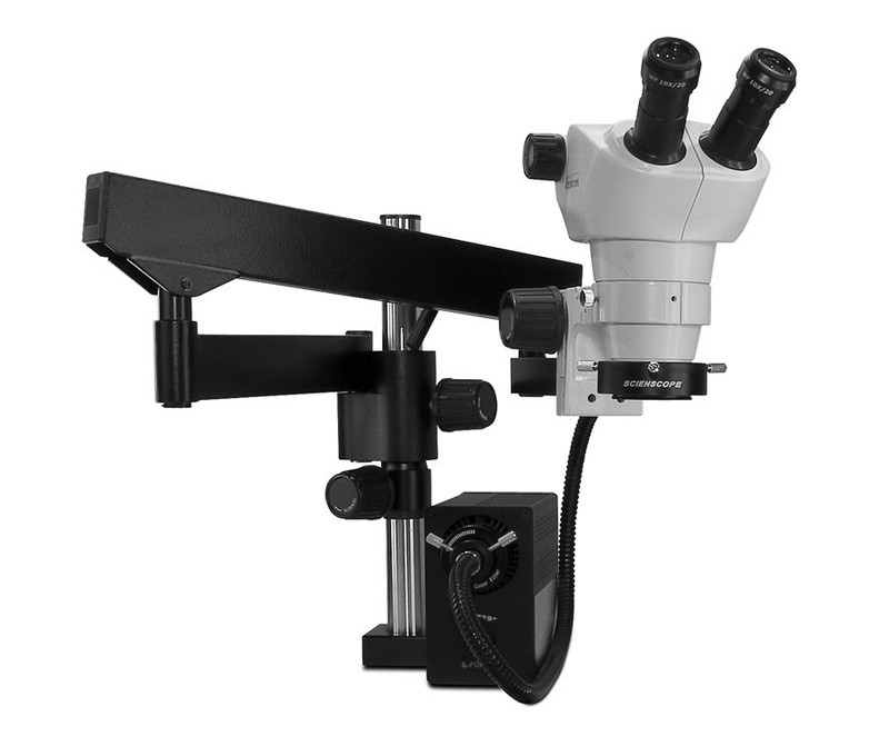 Scienscope NZ-PK3FX-AN, NZ Stereo Zoom Binocular Microscope on Heavy Duty Articulating Arm with LED Fiber Optic Annular Ring Light, 8x to 50x Magnification