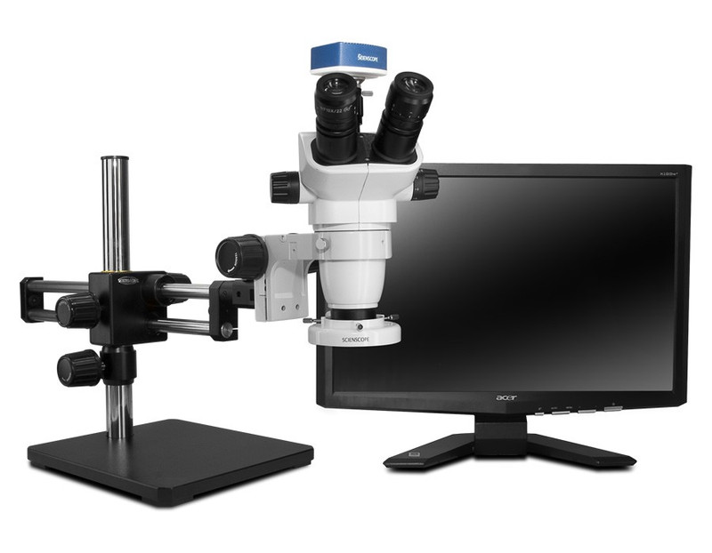 "Scienscope SZ-PK10-E1, SSZ-II Stereo Zoom Trinocular Microscope on Dual Arm Boom Stand with 1080p HDMI/USB Camera, LED Ring Light & 23"" HD LCD Monitor"