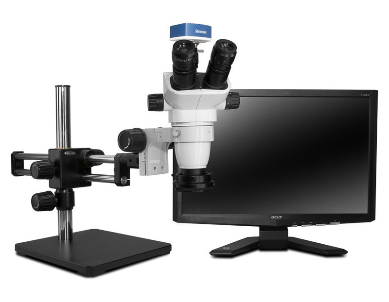 """Scienscope SZ-PK10-R3, SSZ-II Stereo Zoom Trinocular Microscope on Dual Arm Boom Stand with 1080p HDMI/USB Camera, LED Ring Light with Polarizer & 23"""" HD LCD Monitor"""