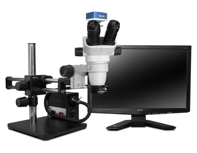 """Scienscope SZ-PK10-AN, SSZ-II Stereo Zoom Trinocular Microscope on Dual Arm Boom Stand with 1080p HDMI/USB Camera, LED Fiber Optic Annular Ring Light & 23"""" HD LCD Monitor"""