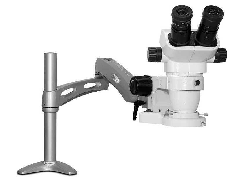 Scienscope SZ-PK3-E1, SSZ-II Stereo Zoom Binocular Microscope on Articulating Arm with LED Ring Light, 6.7x to 45x Magnification