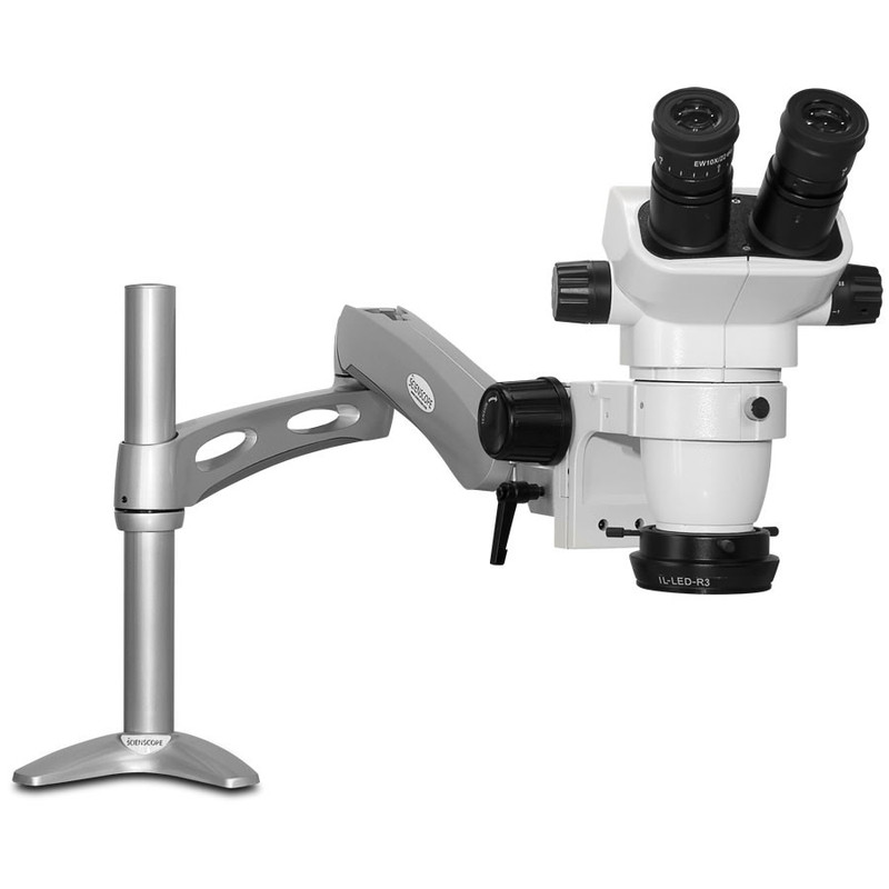 Scienscope SZ-PK3-R3, SSZ-II Stereo Zoom Binocular Microscope on Articulating Arm with LED Ring Light with Polarizer, 6.7x to 45x Magnification