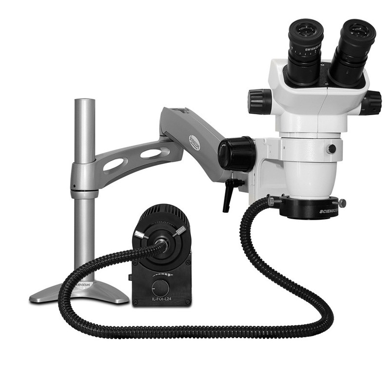 Scienscope SZ-PK3-AN, SSZ-II Stereo Zoom Binocular Microscope on Articulating Arm with LED Fiber Optic Annular Ring Light, 6.7x to 45x Magnification