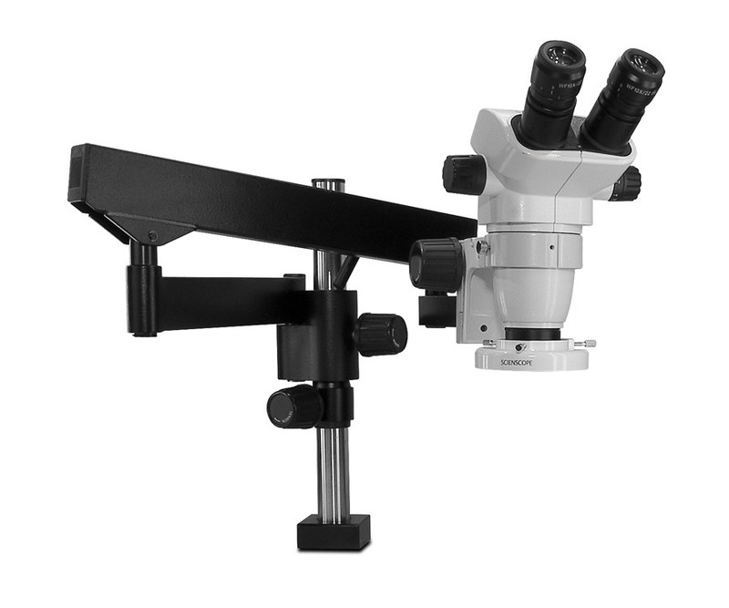Scienscope SZ-PK3FX-E1, SSZ-II Stereo Zoom Binocular Microscope on Heavy Duty Articulating Arm with LED Ring Light, 6.7x to 45x Magnification