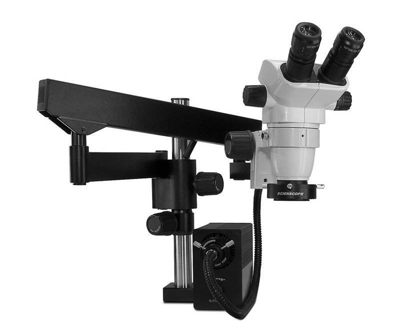 Scienscope SZ-PK3FX-AN, SSZ-II Stereo Zoom Binocular Microscope on Heavy Duty Articulating Arm with LED Fiber Optic Annular Ring Light, 6.7x to 45x Magnification