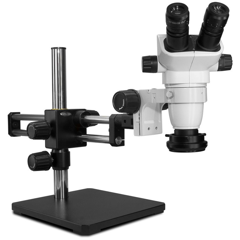Scienscope SZ-PK5D-R3, SSZ-II Stereo Zoom Binocular Microscope on Dual Arm Boom Stand with LED Ring Light with Polarizer, 6.7x to 45x Magnification