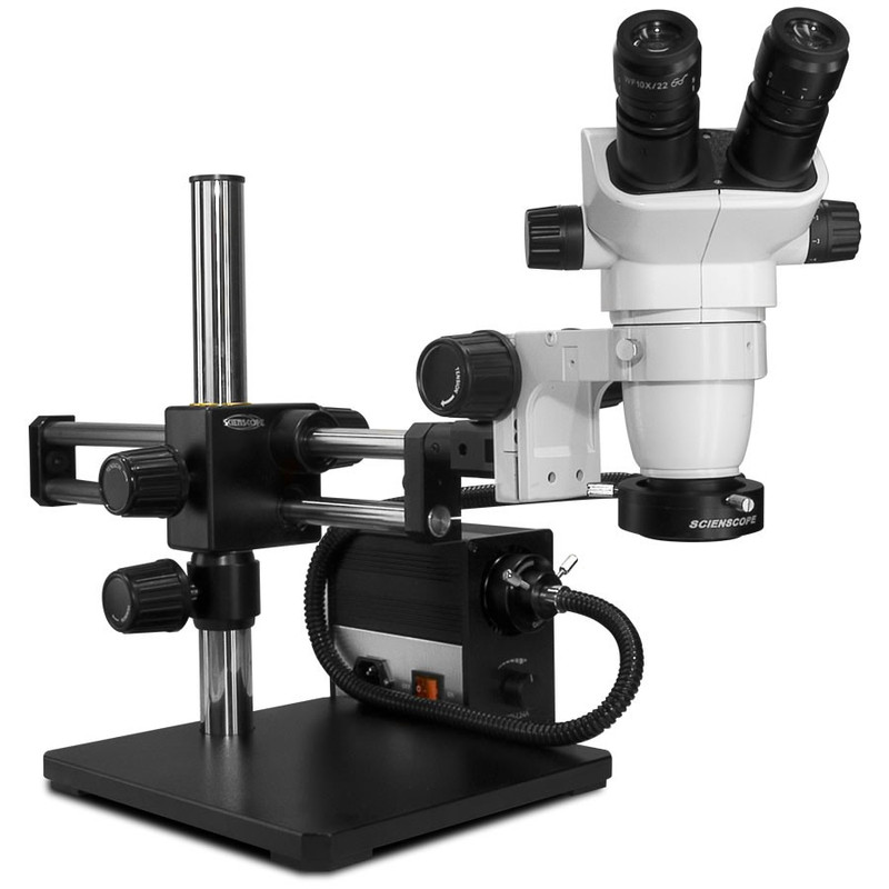 Scienscope SZ-PK5D-AN, SSZ-II Stereo Zoom Binocular Microscope on Dual Arm Boom Stand with LED Fiber Optic Annular Ring Light, 6.7x to 45x Magnification