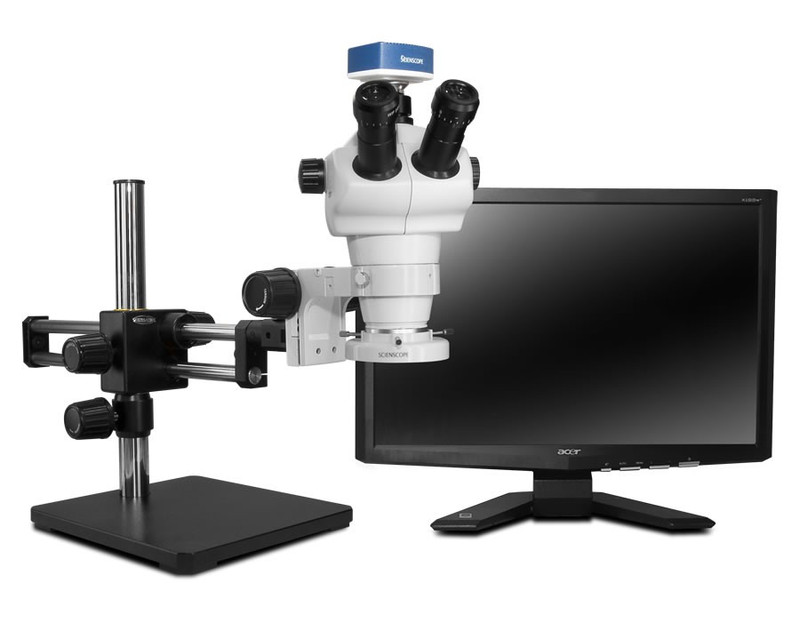 """Scienscope NZ-PK10-E1, NZ Stereo Zoom Trinocular Microscope on Dual Arm Boom Stand with 1080p HDMI/USB Camera, LED Ring Light & 23"""" HD LCD Monitor"""
