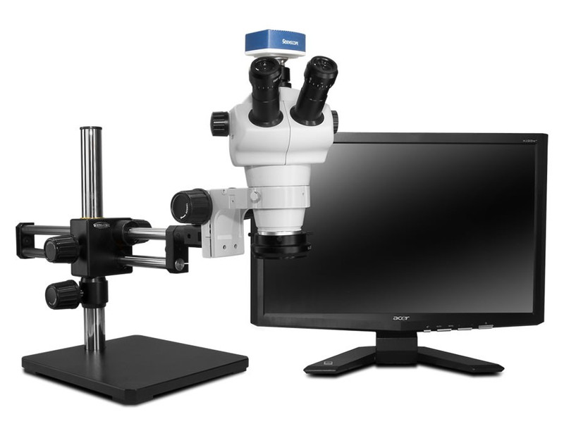 """Scienscope NZ-PK10-R3, NZ Stereo Zoom Trinocular Microscope on Dual Arm Boom Stand with 1080p HDMI/USB Camera, LED Ring Light with Polarizer & 23"""" HD LCD Monitor"""