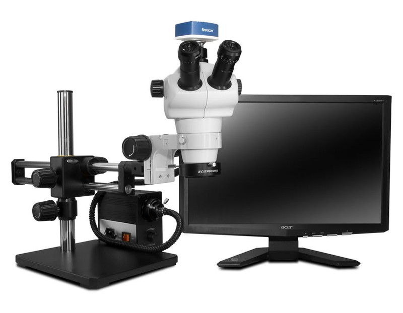 """Scienscope NZ-PK10-AN, NZ Stereo Zoom Trinocular Microscope on Dual Arm Boom Stand with 1080p HDMI/USB Camera, LED Fiber Optic Annular Ring Light & 23"""" HD LCD Monitor"""