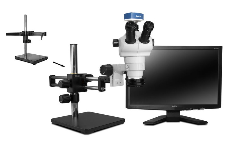 """Scienscope NZ Stereo Zoom Trinocular Microscope on Gliding Arm Boom Stand with 1080p HDMI/USB Camera, LED Ring Light & 23"""" HD LCD Monitor"""