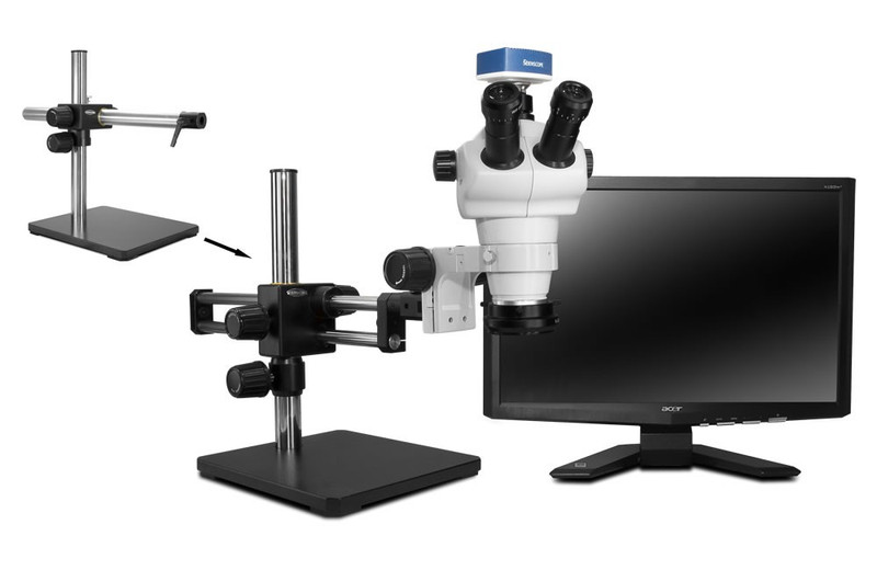 """Scienscope NZ Stereo Zoom Trinocular Microscope on Single Arm Boom Stand with 1080p HDMI/USB Camera, LED Ring Light with Polarizer & 23"""" HD LCD Monitor"""