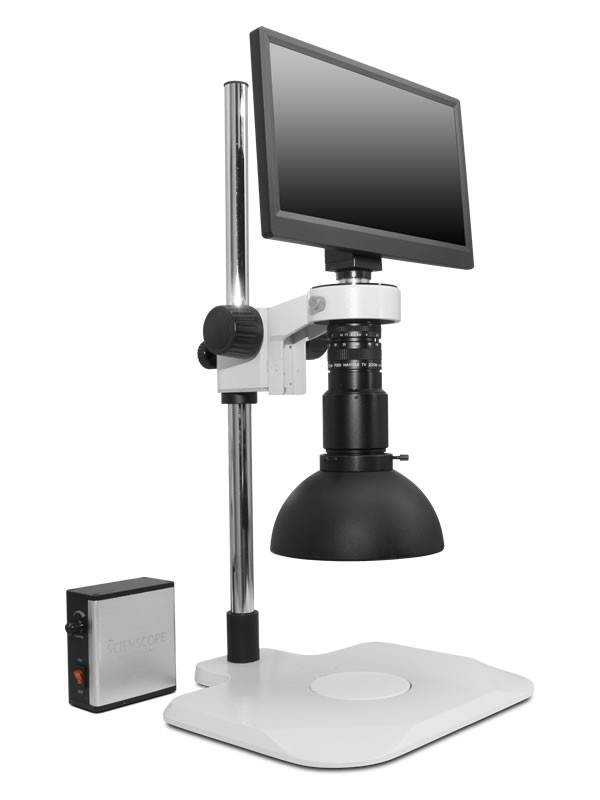 Scienscope MAC3-PK1-DM, MAC3 HD Compact Video System on Extended Post Stand with Diffused LED Dome Ring Light