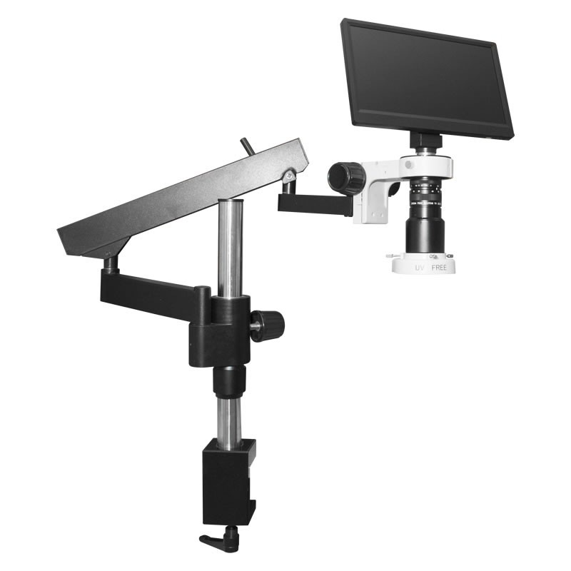 Scienscope MAC3-PK3-E2D, MAC3 HD Compact Video System on Heavy Duty Articulating Arm Stand with Diffused Compact LED Ring Light