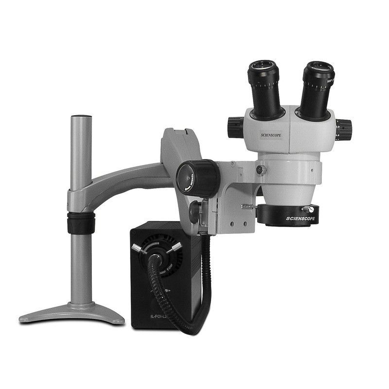 Scienscope ELZ-PK3-AN, ELZ Stereo Zoom Binocular Microscopes on Articulating Arm with LED Fiber Optic Annular Ring Light, 7x to 30x Magnification