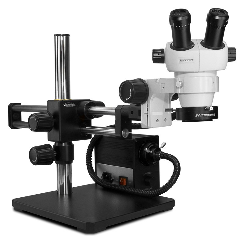 Scienscope ELZ-PK5D-AN, ELZ Stereo Zoom Binocular Microscopes on Dual Arm Boom Stand with LED Fiber Optic Annular Ring Light, 7x to 30x Magnification